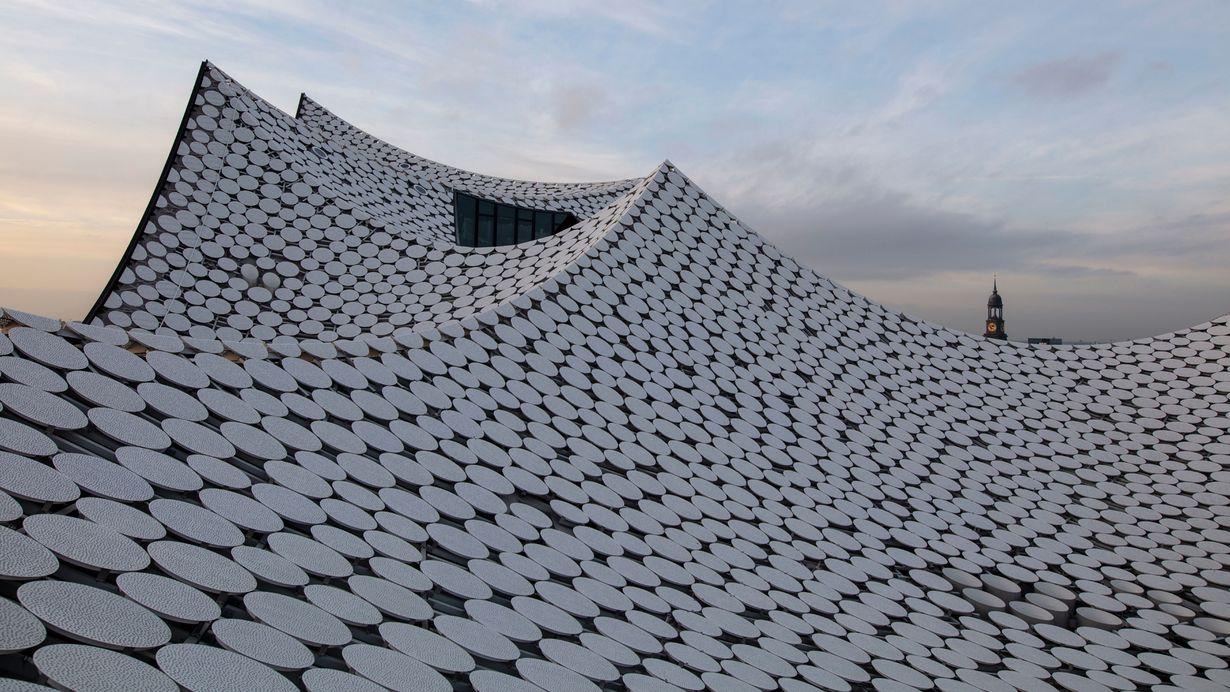 Bild: Großaufnahme Dachaufständerungen Elbphilharmonie Hamburg
